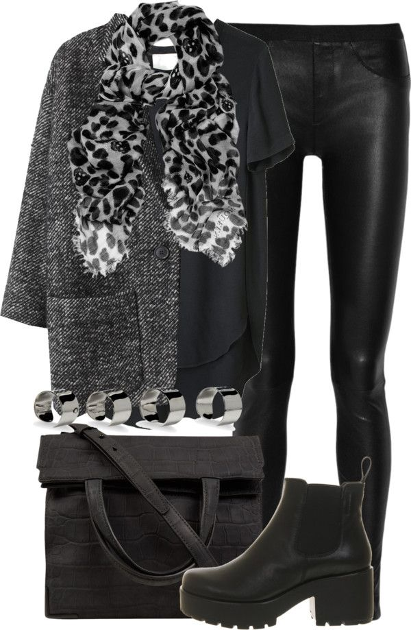 outfit with leopard scarf