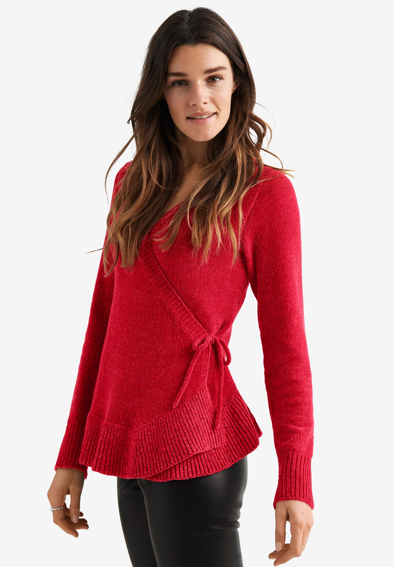 Chenille Wrap Sweater by ellos Women's Plus Size Clothing