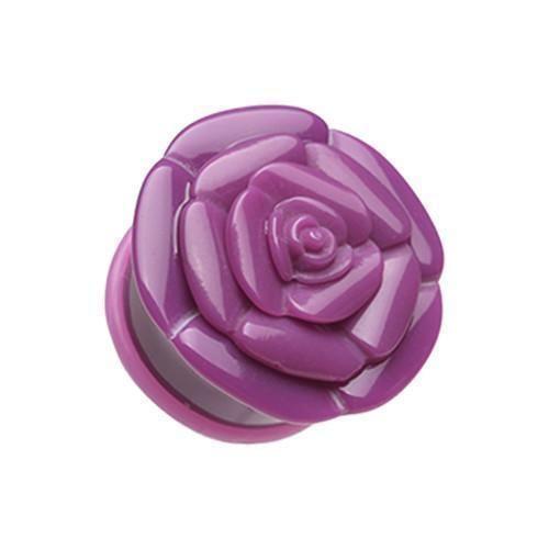 Purple Rose Blossom Flower Single Flared Ear Gauge Plug  1 Pairblossom