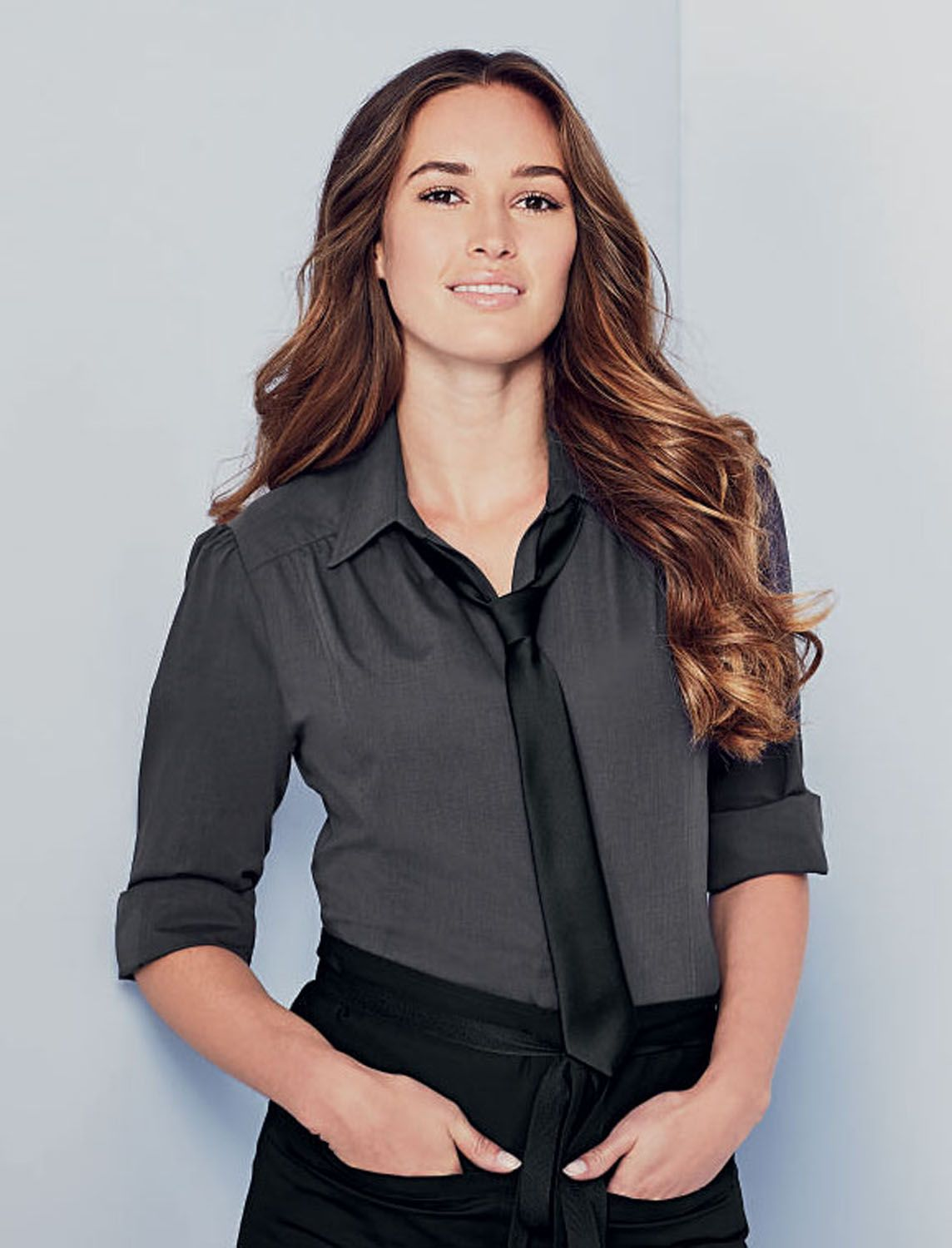 1e54844b0f8c0d Simon Jersey NEW chambray blouse £19.79, stylish, smart and durable perfect  for many job roles // Waitress blouse, hospitality uniform, grey blouse, ...