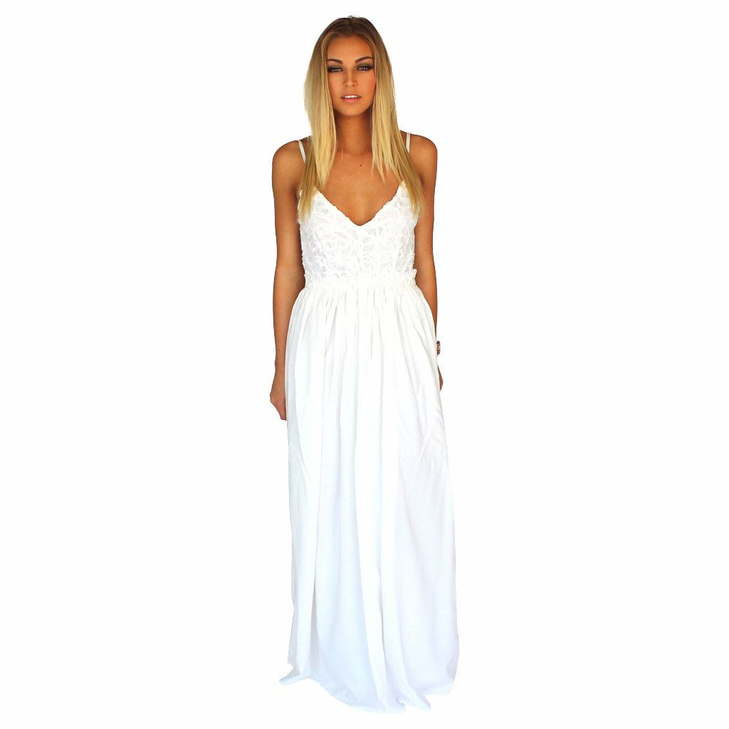 White lace front crochet accent open back maxi dress white lace