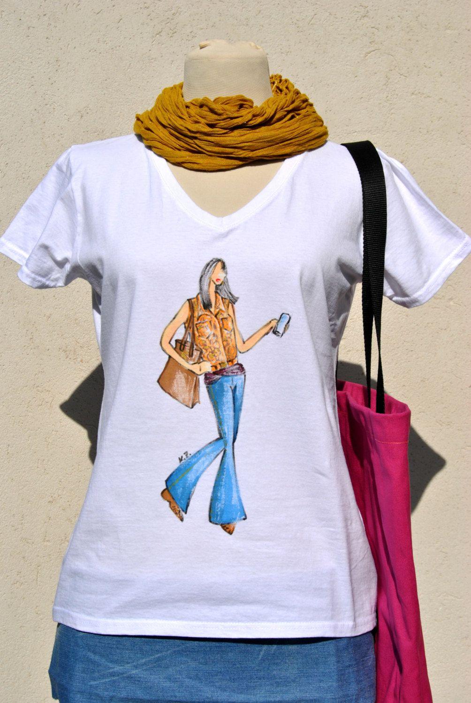 T-shirt design handmade - Fashion Sketch T Shirt Seventys Look Woman Top Unique Art T Shirt With Fashion Design