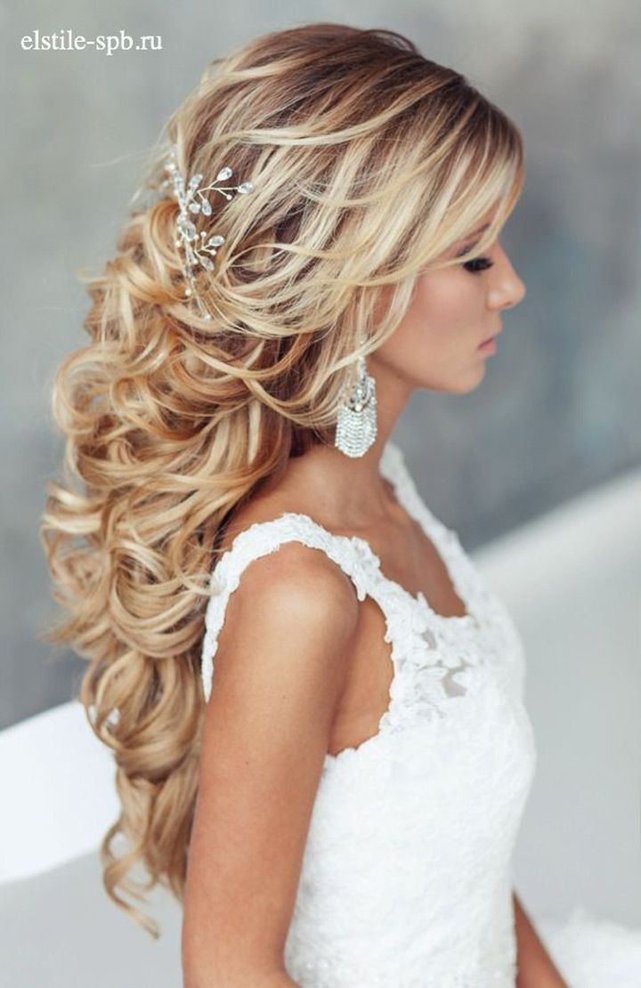 Loose Curls Half Up And Down Bridal Style
