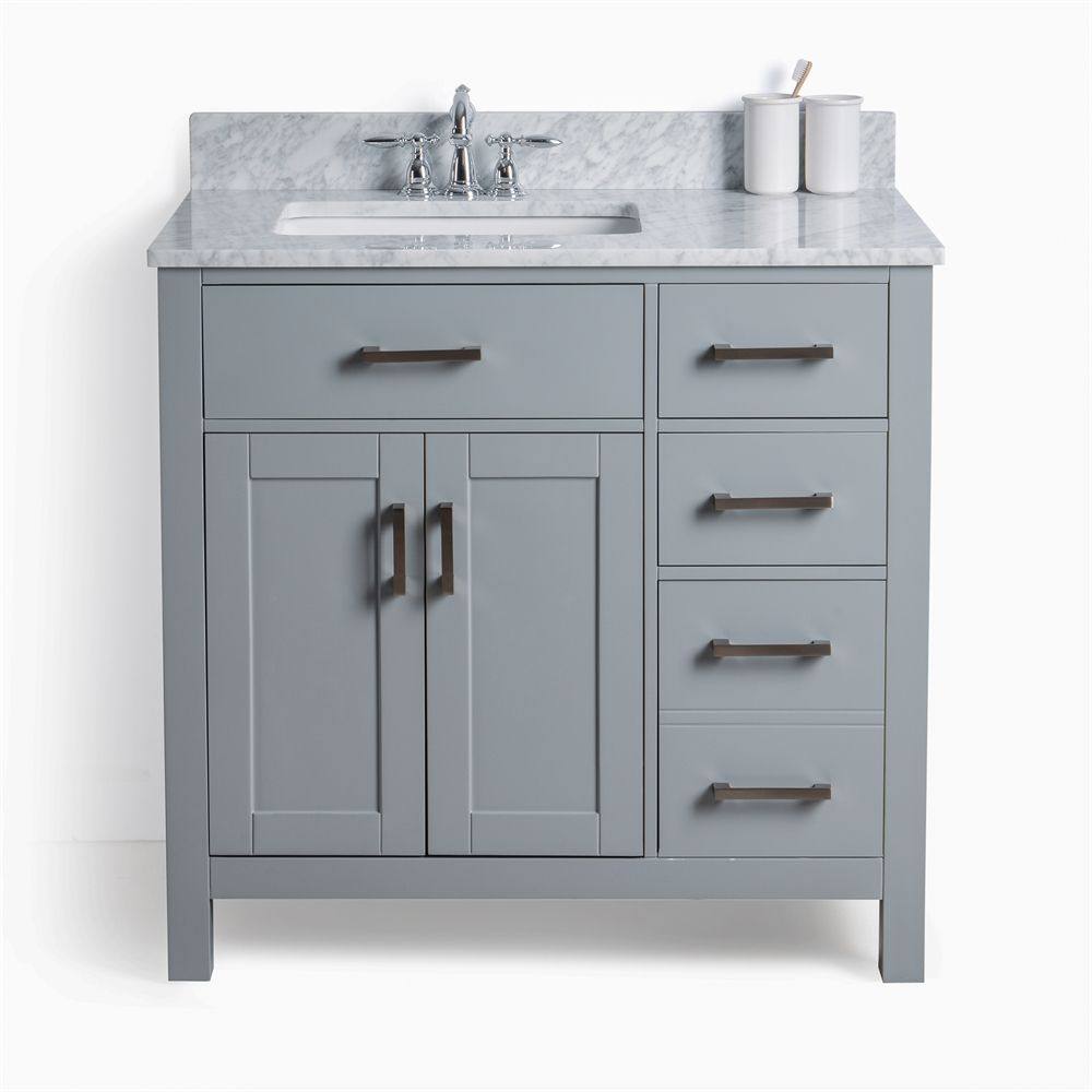 Cutler Kitchen Bath Caru 36 In X 22 In Drop In Single Sink Bathroom Vanity With Natural Marble Lowe Bathroom Vanity Single Sink Bathroom Vanity Vanity Top