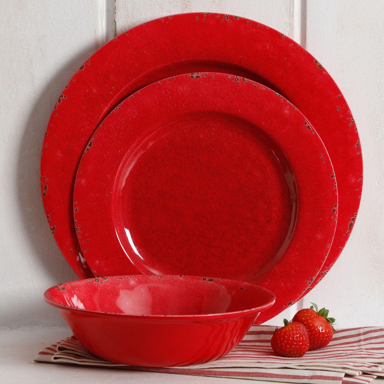Studio California Mauna 12 Piece Melamine Dinnerware Set Red & Studio California Mauna 12 Piece Melamine Dinnerware Set Red ...