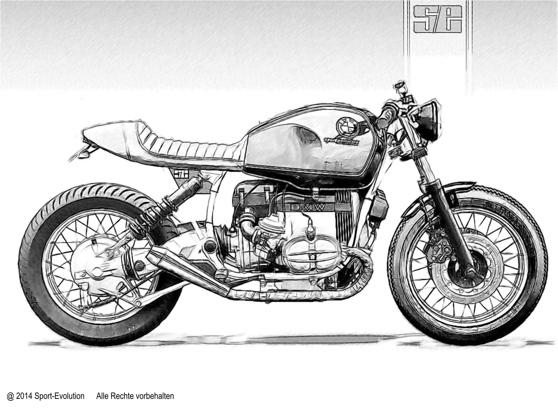 Bmw R100 Cafe Racer Drawing Cafe Racer Bmw Cafe Racer Bmw