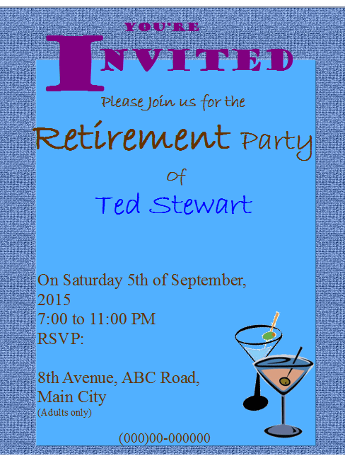 free publisher retirement party invitation flyer template ms