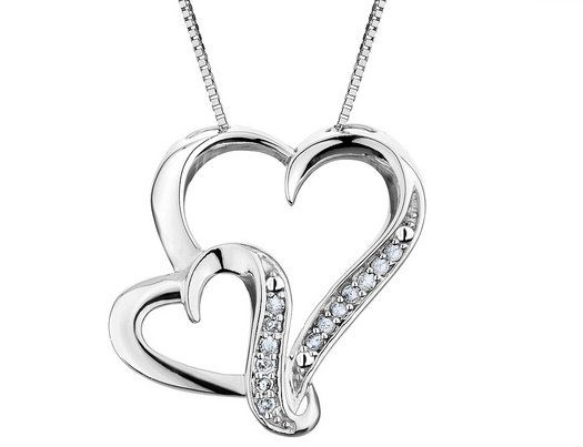 Diamond heart pendant necklace in sterling silver with chain diamond heart pendant necklace in sterling silver with chain aloadofball Choice Image
