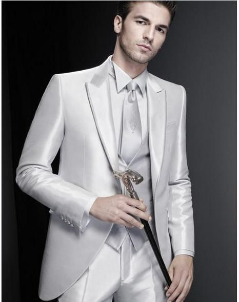 Free shipping, $120.81/Piece:buy wholesale  Silver Grooms Tuxedos Peaked Lapel Wedding Suits For Men Three Piece Mens Suits For Prom Two Button Groomsmen Suit Jacket+Pants+Vest+Tie 115One Button,Two,Reference Images on parisimpression's Store from DHgate.com, get worldwide delivery and buyer protection service.