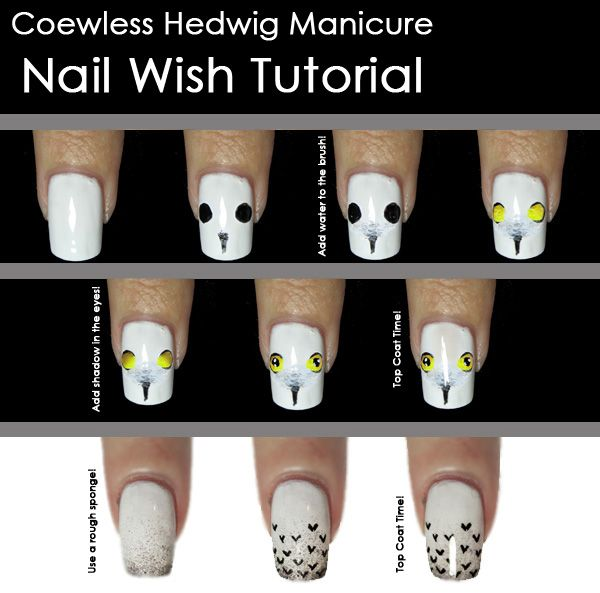 Christmas Toe Nail Art Tutorial: Nail Wish: Coewless Hedwig Manicure Tutorial