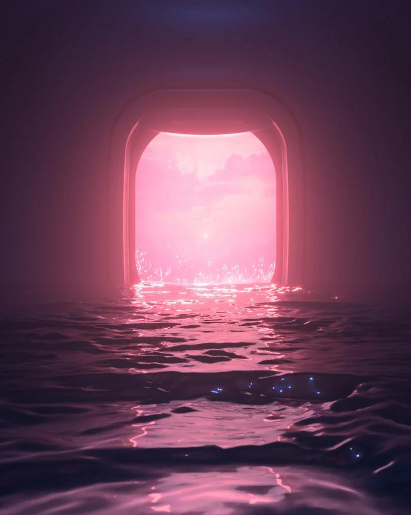 hayden williams envisions dystopian 'world underwater' in shimmering pink