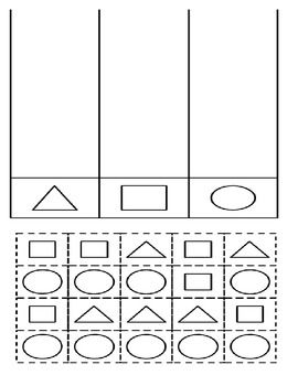 pre k shape sorting all shapes of the same kind should be colored the same color then cut and. Black Bedroom Furniture Sets. Home Design Ideas