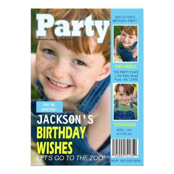 Birthday party invitation magazine cover 3 photos stopboris Choice Image