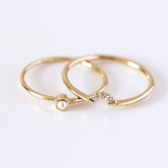 Wedding Ring Set Pearl Wedding Ring Seed Pearl Ring Dainty Pearl