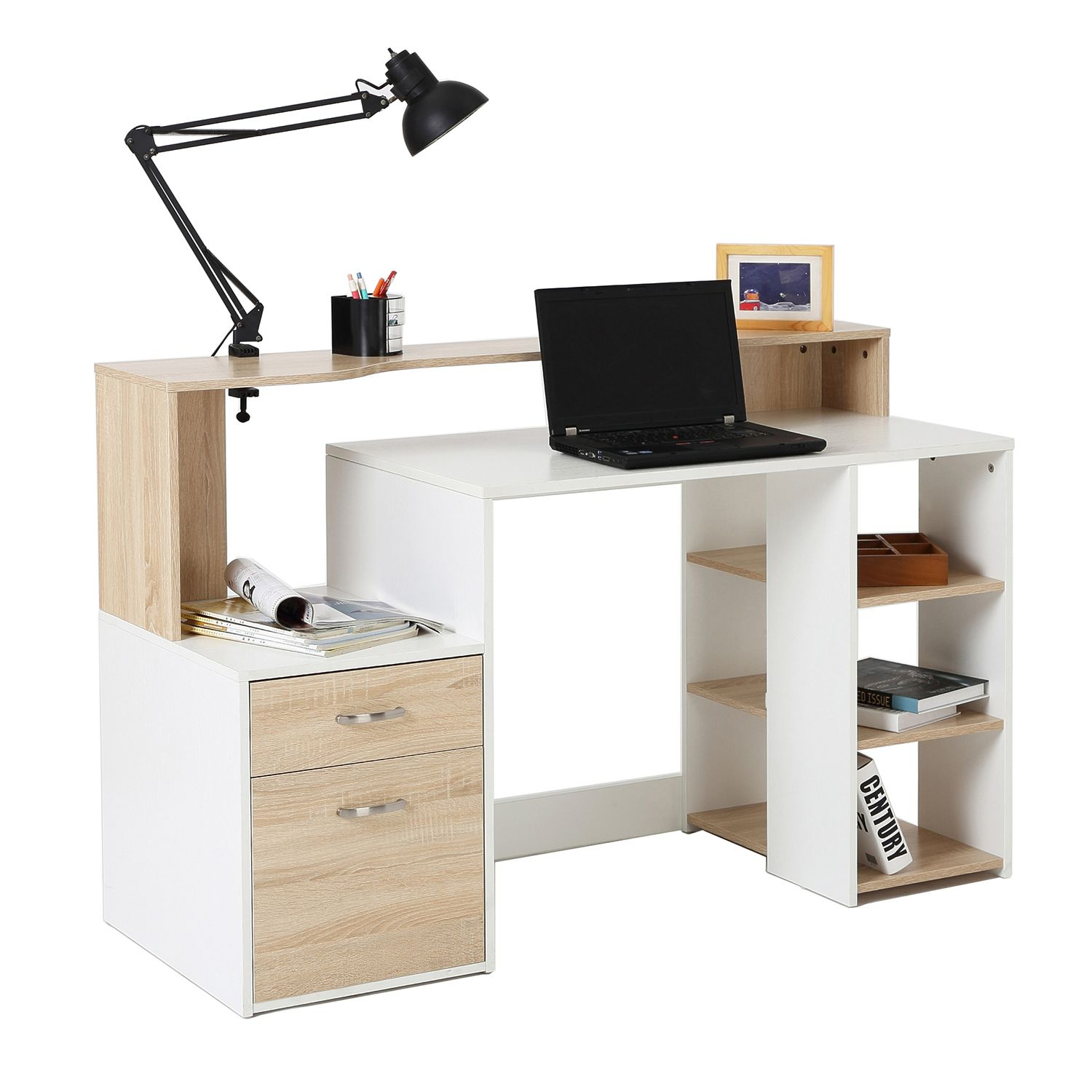Homcom White And Wood Desk Wooden Computer Desk 140lx55dx92h Cm Modern Home Office Writing Workstation Fur Wooden Computer Desks Modern Computer Desk Furniture Desk with drawers and shelves