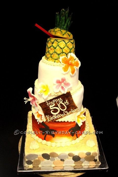 Tremendous Coolest 50Th Birthday Luau Cake Luau Cakes Cool Birthday Cakes Personalised Birthday Cards Veneteletsinfo