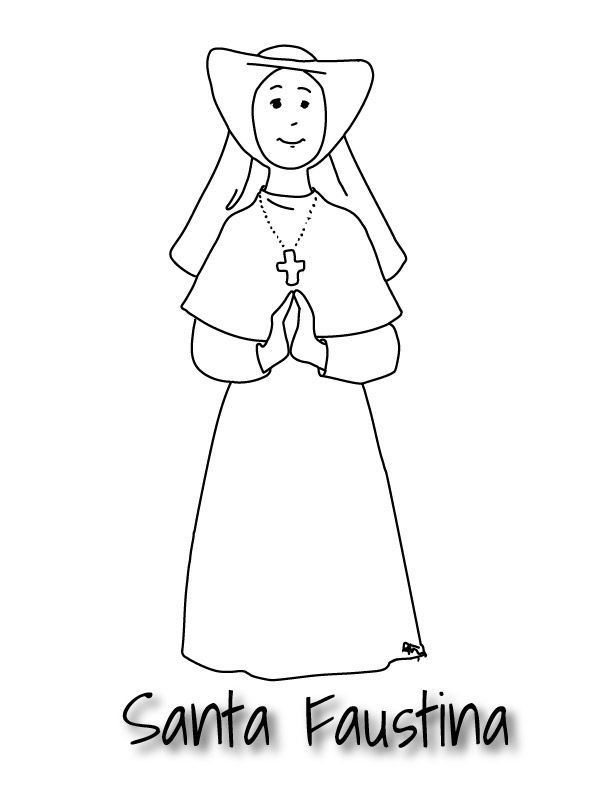 Santa Faustina-Dibujo para colorear   Santos de la Iglesia ...
