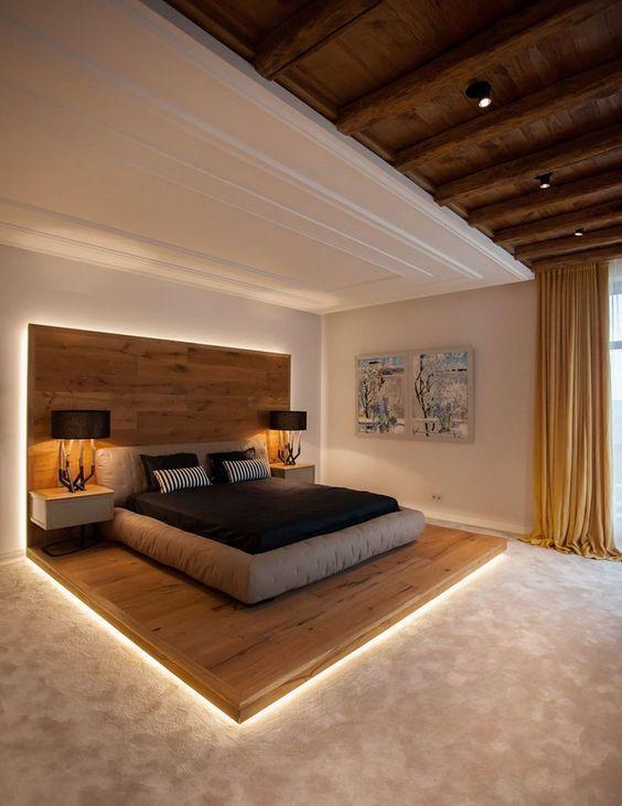 interessantes Schlafzimmer Design mit Holz beim Innendesign Dream