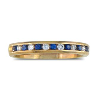 1/4ct Sapphire and Diamond Channel Set Band, 14k Yellow Gold