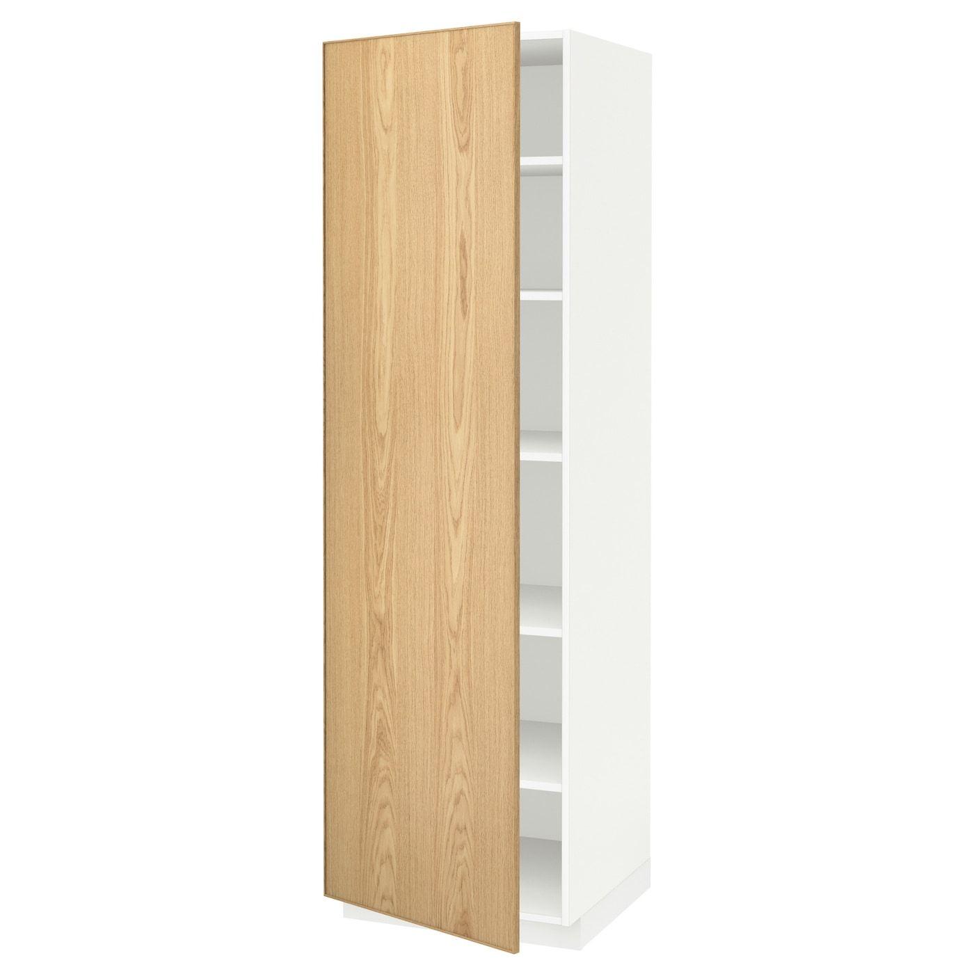Metod High Cabinet With Shelves White Ekestad Oak 60x60x200 Cm