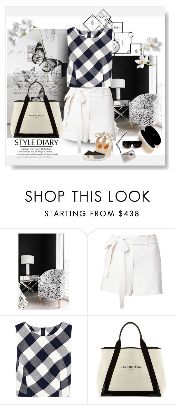 """WHITE SHORTS"" by mellapr ❤ liked on Polyvore featuring Trilogy, Helmut Lang, Oscar de la Renta, Balenciaga and Roxy"