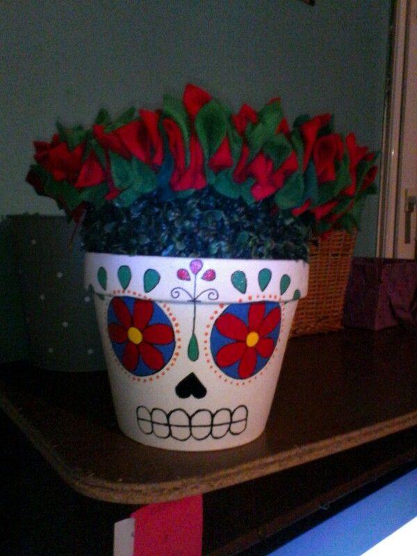 Sugar skull flower pot planter