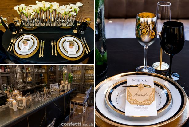 Gold and black table setting with crackers google search new a lot of time may be spent at the dinner table on the wedding day junglespirit Images