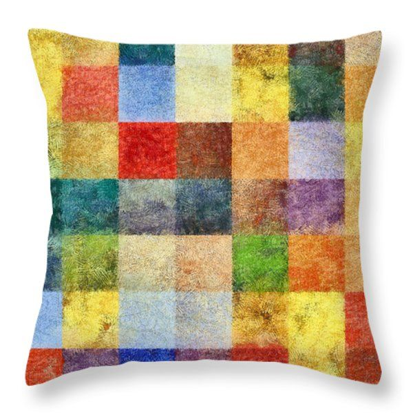 Multicolor Checked Chalk Throw Pillow by Grigorios Moraitis