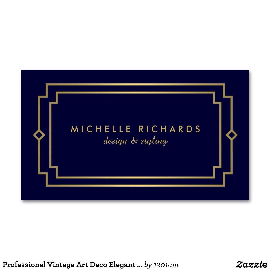 Professional Vintage Art Deco Elegant Gold, Navy Double-Sided ...