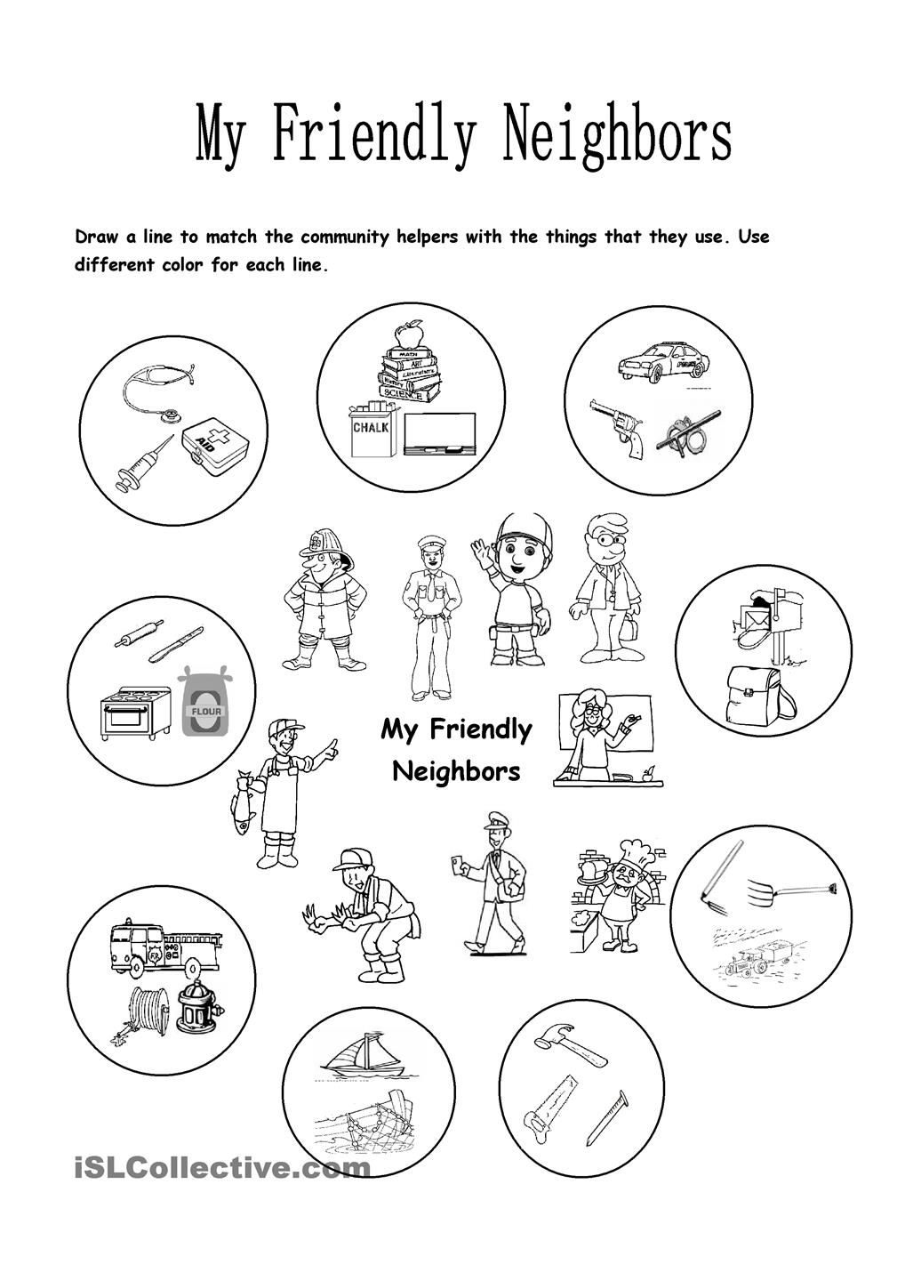 Worksheets Community Helpers Kindergarten Worksheets my friendly neighbors community pinterest this worksheet focuses on the helpers and things that they use children will have to match correct tools