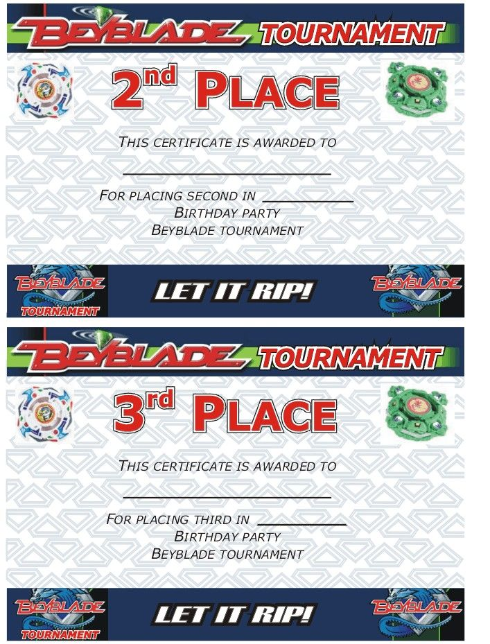 beyblade tournament certificate  2nd and 3rd place