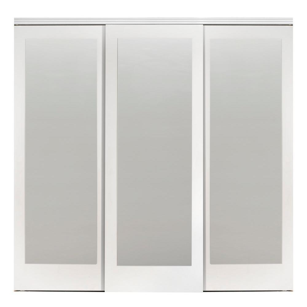 Impact Plus 108 In X 84 In Mir Mel Primed Mirror Solid Core Mdf Interior Closet Sliding Door With Primed Trim Smmp343 10884w The Home Depot In 2020 Sliding Doors Interior Sliding Mirror