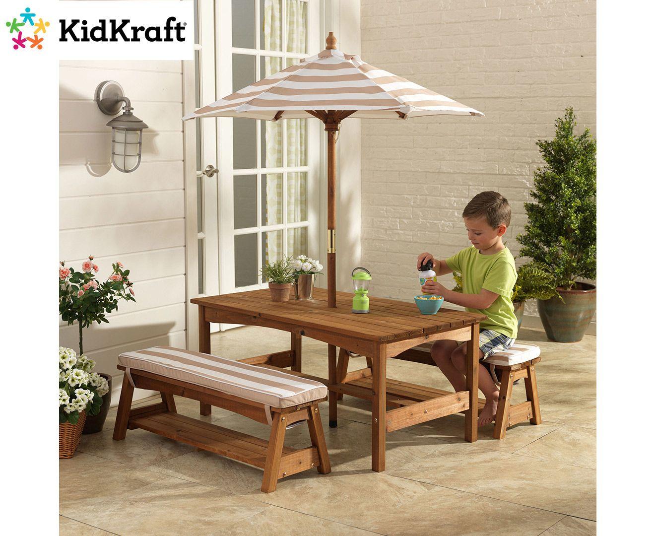 Kidkraft Outdoor Table Bench Set Oatmeal White Kids Outdoor