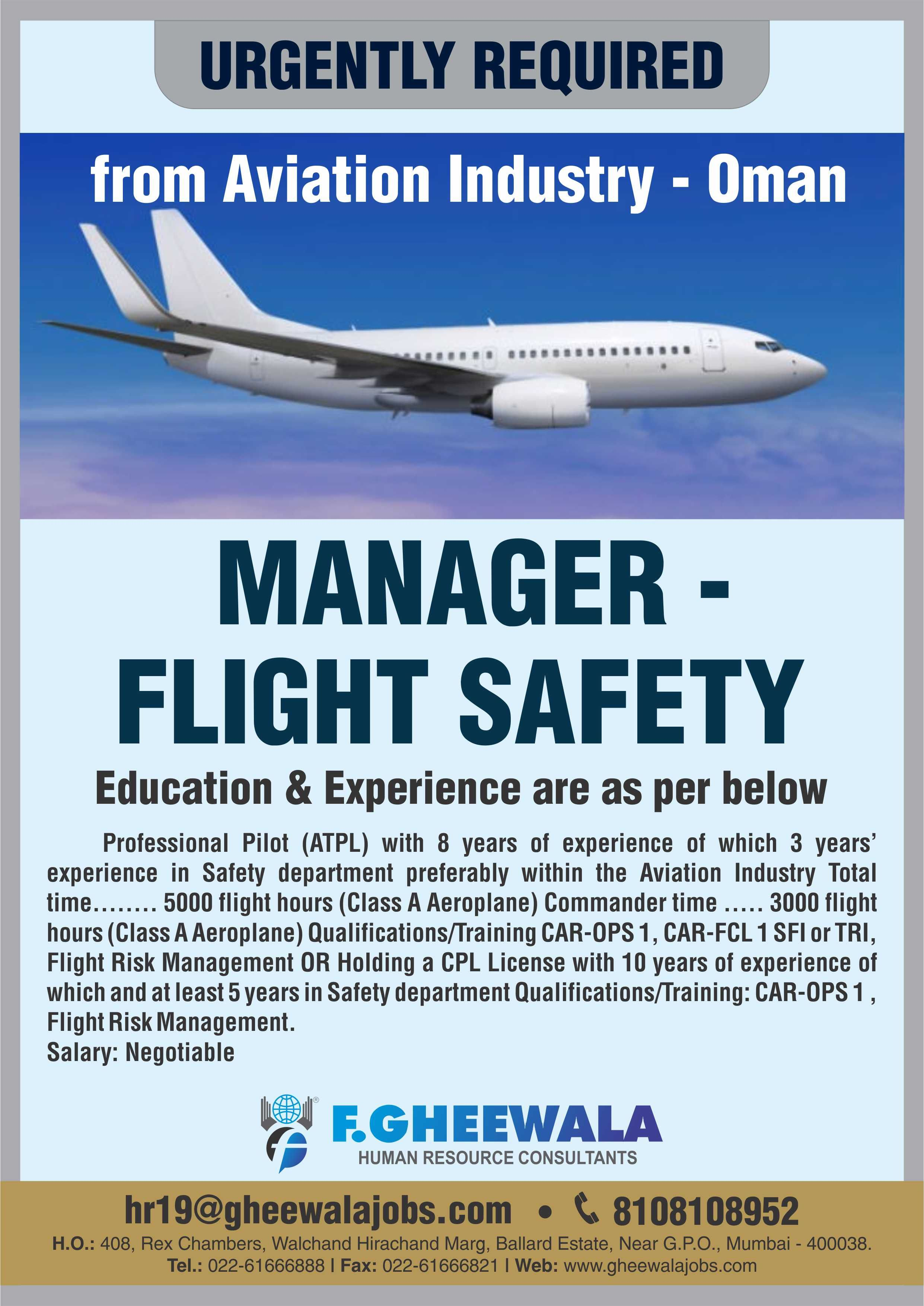 URGENTLY REQUIRED Manager Flight Safety for Aviation