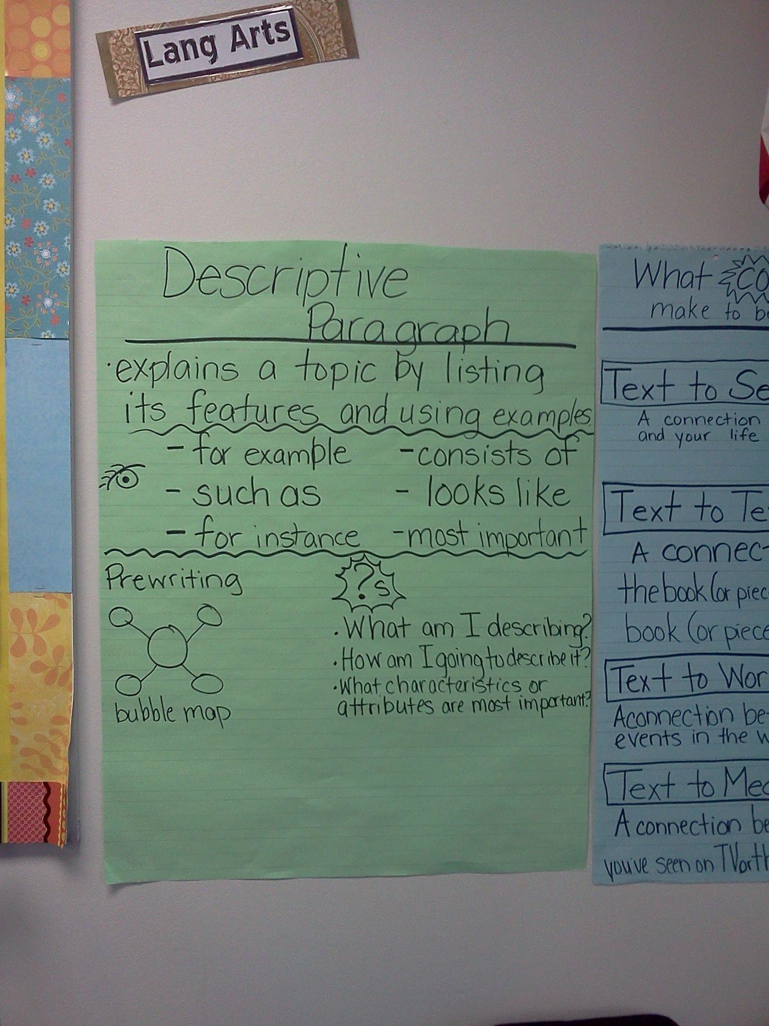 Descriptive Paragraph School Language Arts Pinterest