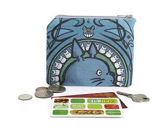 Totoro Zipper Pouch / Card Wallet in Miyazaki's My Neighbor Totoro by Karen Hallion