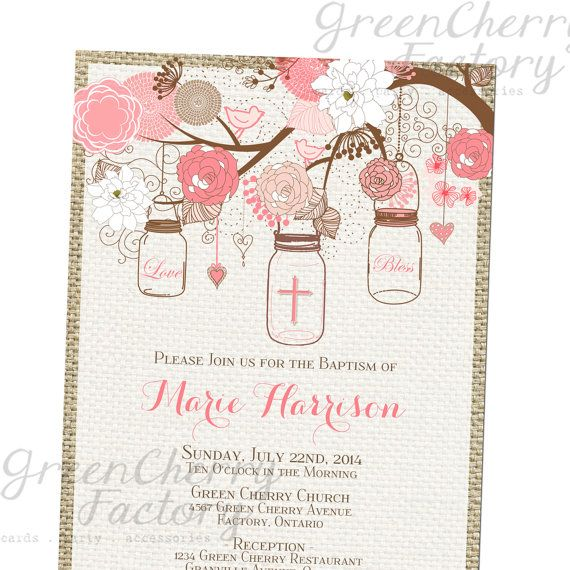 Printable Baby Girl Baptism Invitation by GreenCherryFactory