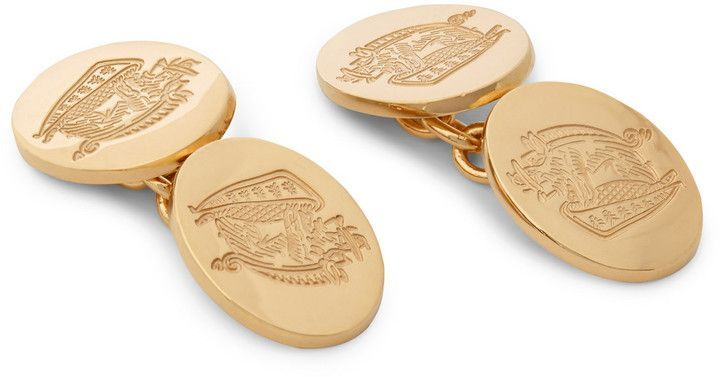 Deacon and Francis gold plated Crest Cufflinks