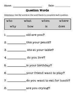 Wh\' question worksheet: | Homeschool | Pinterest