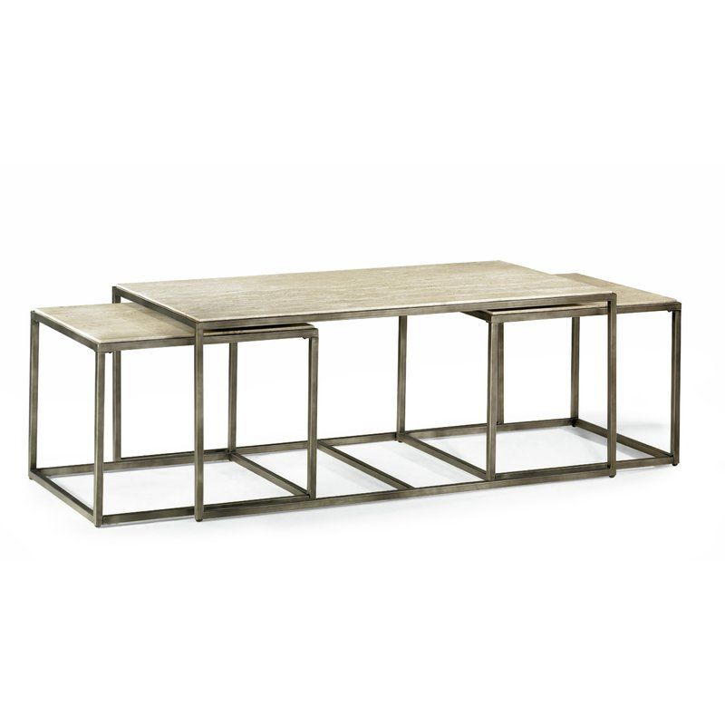 Antonio 3 Piece Nested Coffee Table Set Coffee Table Bronze