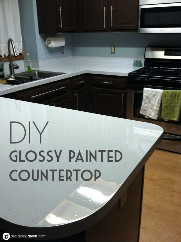 Check Out The Tutorial On How To Make A #DIY Glossy Paint Kitchen  Countertop.