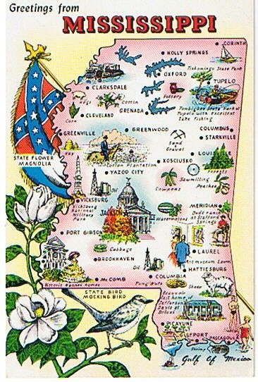 Mississippi Postcard Vintage State Map Postcards Mississippi - Map of south mississippi
