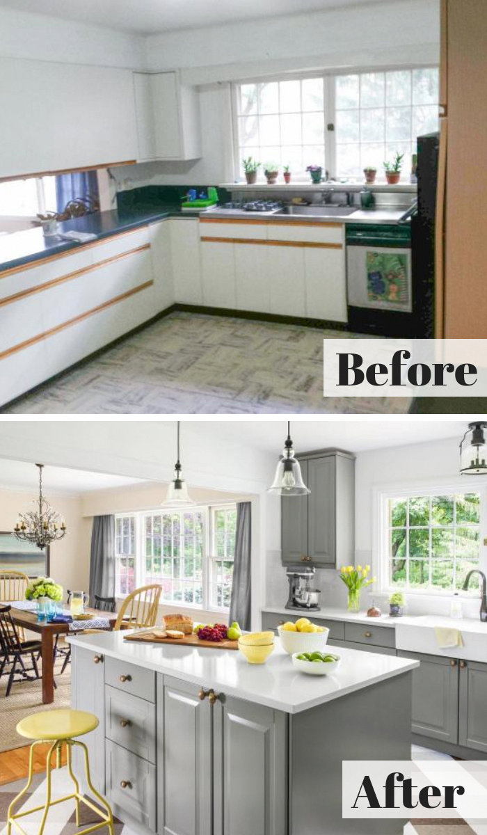 Before: The kitchen had 1980s oak-trimmed laminate ...