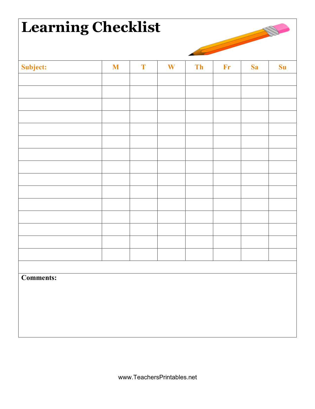 New Printable Checklist Template exceltemplate xls