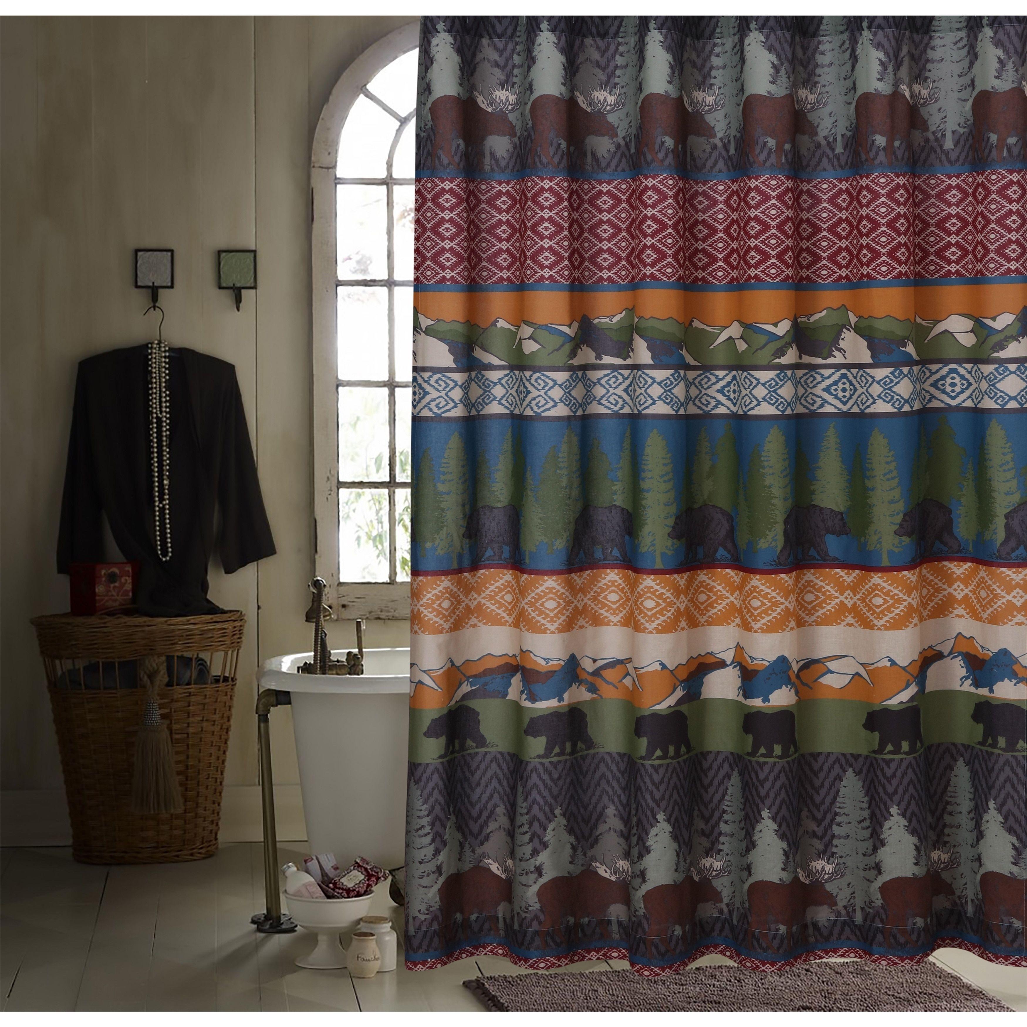 Greenland Home Fashions Black Bear Lodge Shower Curtain Shower