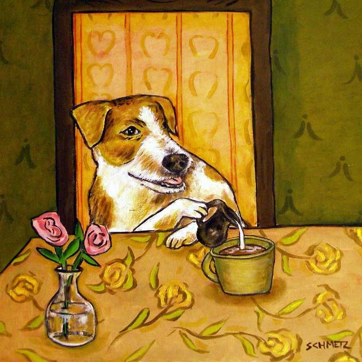Jack russell terrier jrt flying a plane dog art tile coaster gift
