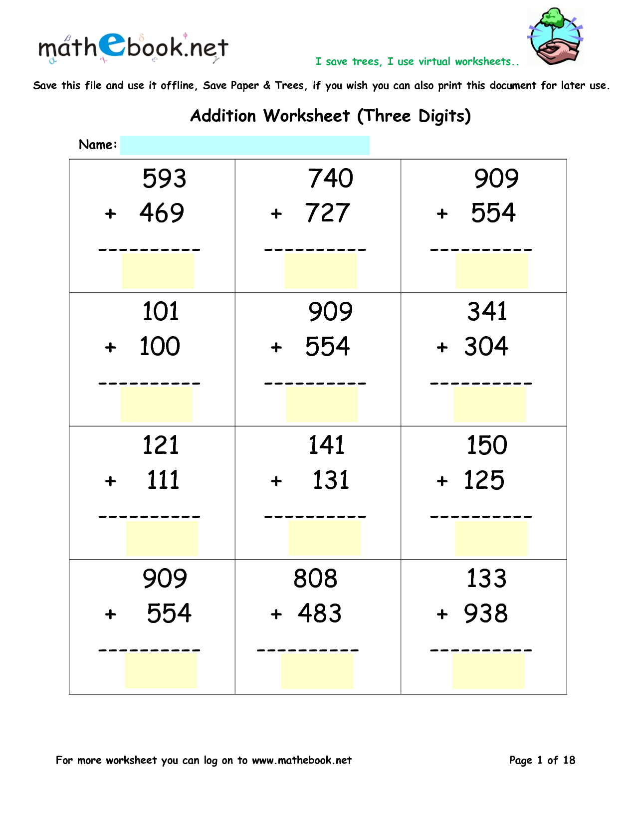 Addition Worksheets TripleDigit Addition Math