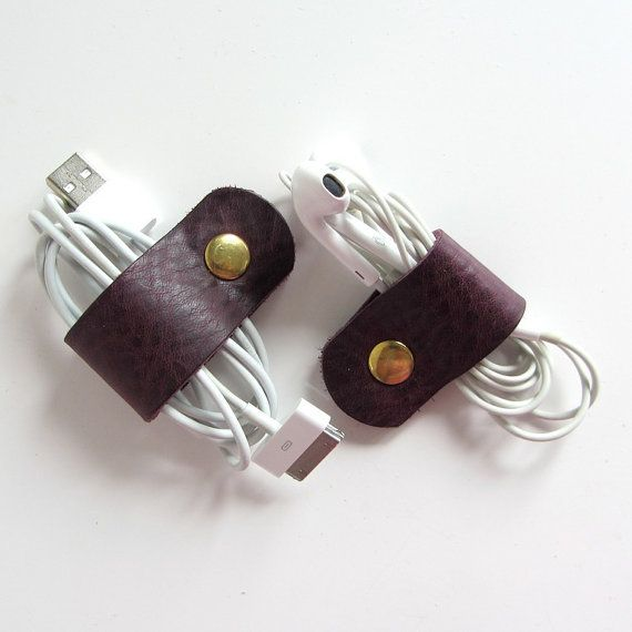 Earbud / earphone / cable organizers in eggplant purple leather , handmade by RinartsAtelier