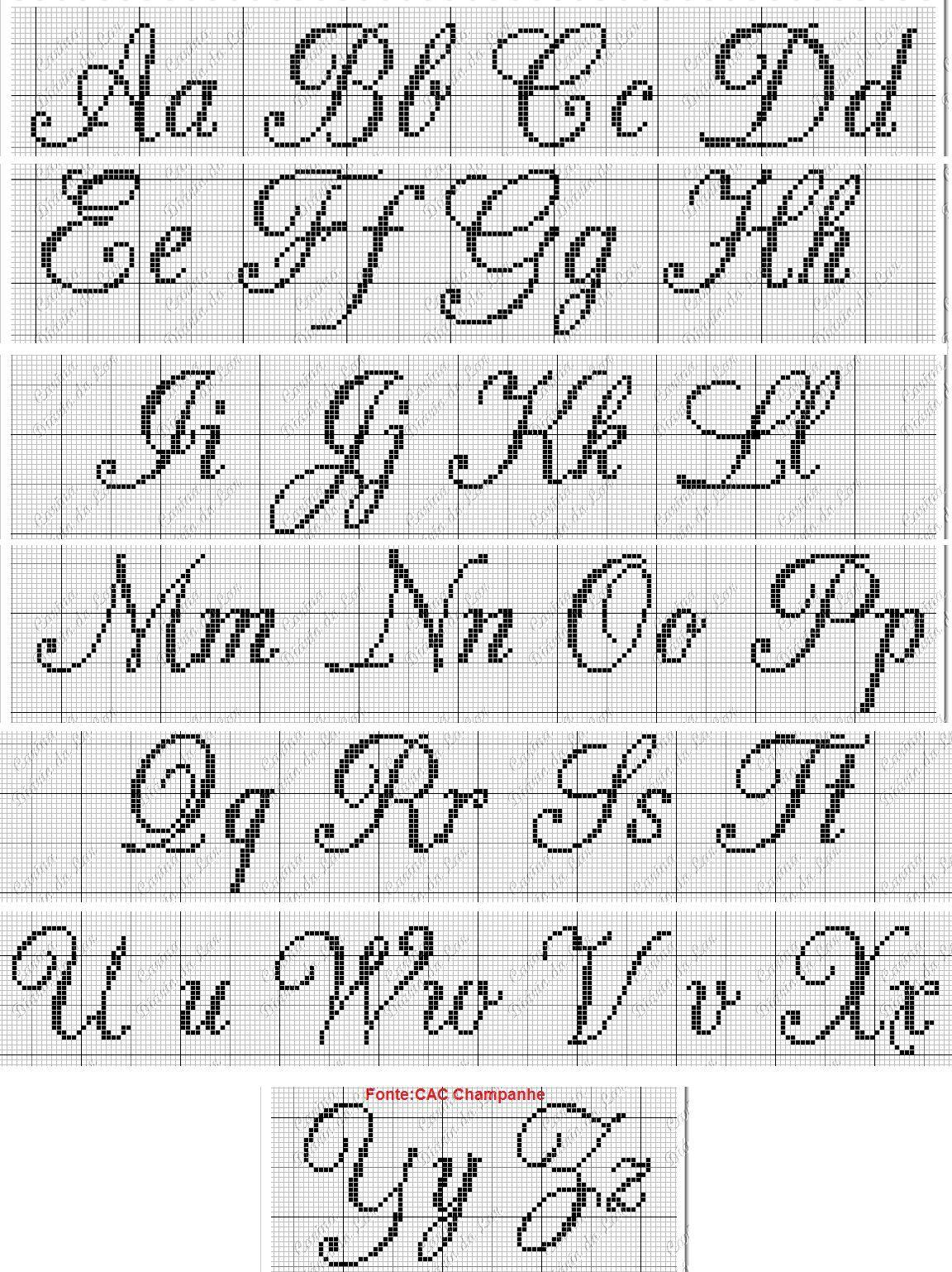 Resultado de imagen para abecedario en punto de cruz cursiva ...