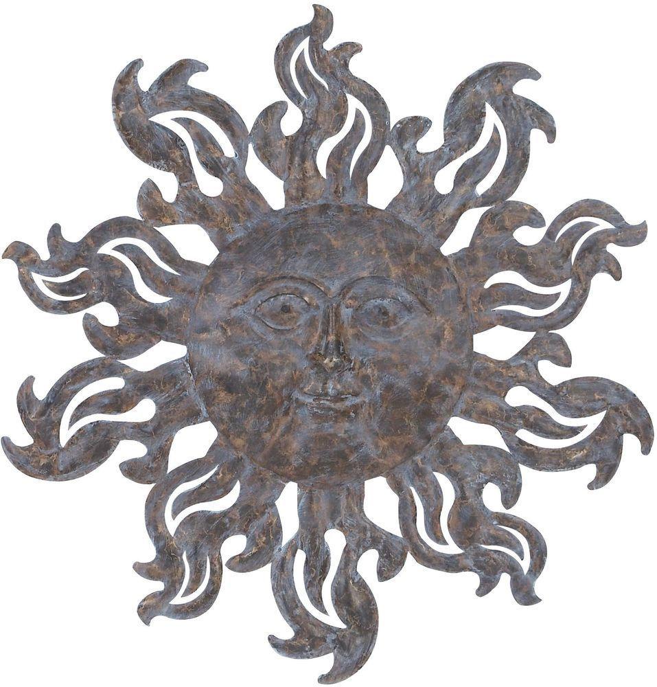 Wall art metal decor sun sculpture indoor outdoor inch iron
